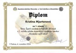 Slovenský opál ožíva - 1.miesto